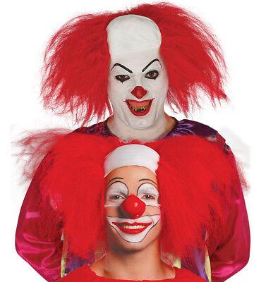 Lockige Halloween Perücke Kostüme (Halloween It Clownperücke Unheimlich Pennywise Horror Gruselig Rot Zirkus Lockig)