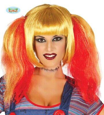 Perücke mit Zöpfen blond rot für Damen Halloween - Blonde Perücken Für Halloween