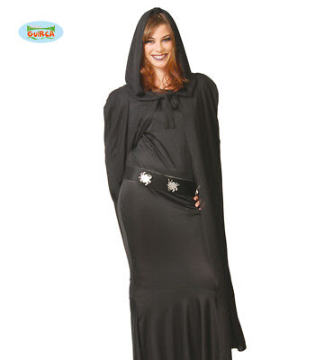 GUIRCA Mantello con cappuccio nero halloween carnevale adulto mod. 16180