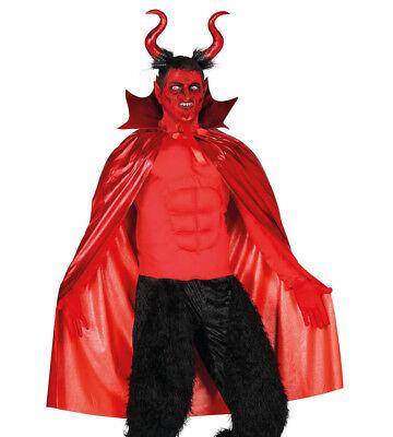 Teufelskostüm Damen Herren Halloween Kostüm Rot Umhang & Hörner Groß Neu