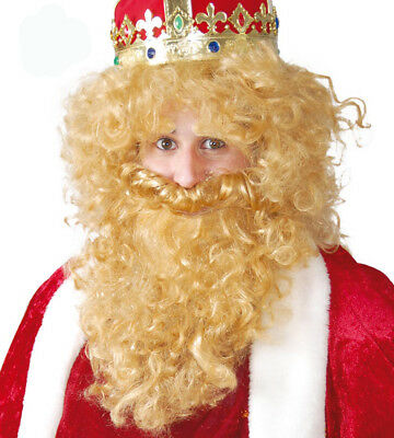 Big Silly Blonde Wig & Beard Mens Fancy Dress Period Costume Hair - Big Hair Kostüm