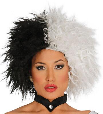 Cruella Wig De Vil Ladies Halloween Fancy Dress Costume Witch Black White Hair