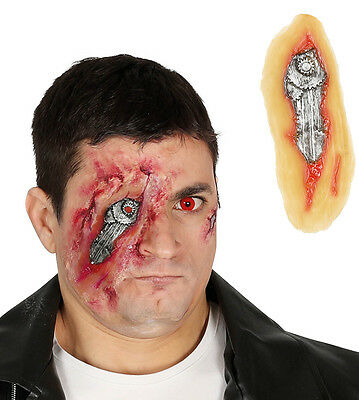 Android Cyborg Robot Costume Latex Eye Mask Prosthetic Wound Terminator Style - Cyborg Eye Costume