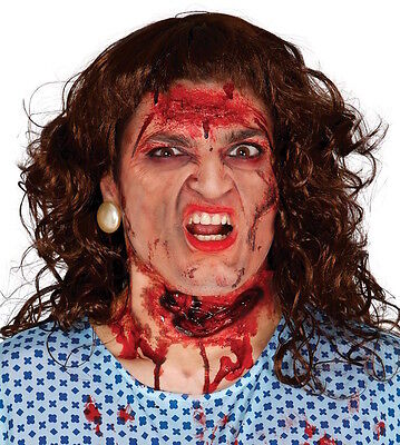 Slashed Throat Wound Prosthetic PVC Halloween Make-Up SPFX Cut Neck Bloody  ()