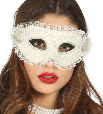White Lace Mask Venetian Ladies Masquerade Ball Maske Halloween Fancy Dress NEW