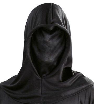 Halloween Black Phantom of Darkness Grim Reaper Executioner Hooded Costume - Black Phantom Mask