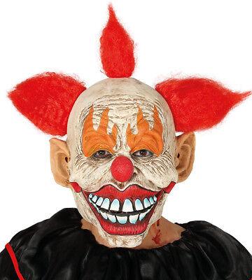 Herren Unheimliche Clown Maske Latex & Haare Halloween - Unheimliche Maske