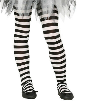 White Witch Costume Kids (Kids Girls Black & White Striped Halloween Witch Fancy Dress Costume Tights)