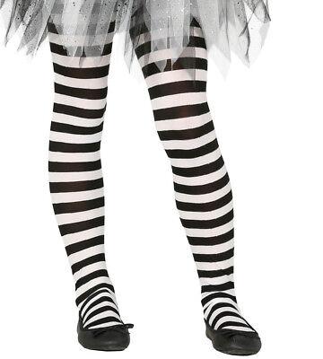 Kinder Mädchen schwarz & Weiß Gestreift Halloween Hexe Maskenkostüm Strumpfhose