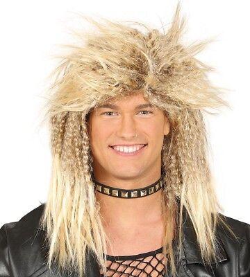 Blond Stachelig Rock Perücke Herren Kostüm Halloween Punk Bon Jovi Mullet 1980's ()