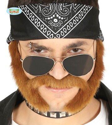 Selbstklebender Backenbart Braun Schnurrbart mit Koteletten Biker Rocker Bart
