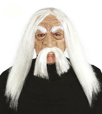 Mens Old Man Mask with Long White Wig and Moustache Fancy Dress Costume - Old Man Wig And Mustache