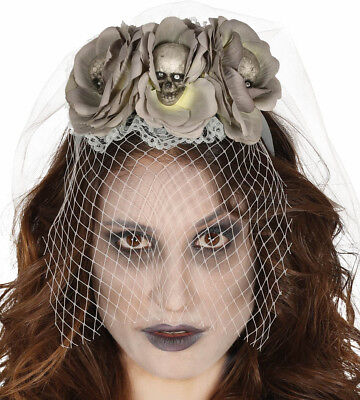 Tag der Toten Grau Rosen Zuckerschädel Stirnband Schleier Halloween Kostüm - Schädel Braut Kostüm