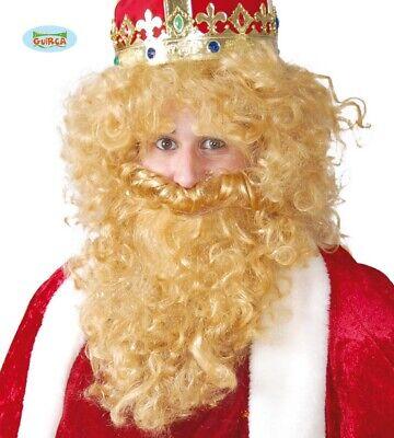 e lang für König Bischof Weihnachten Herrenperücke mit Bart  (Blonde Perücke Für Herren)