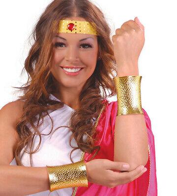 Zwei Gold Metall Armbänder Damen Kostüm Superheld Kostüm - Goldene Rüstung Kostüm