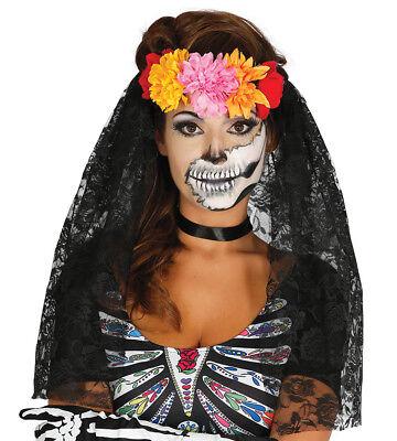 Blume Tiara & Schleier Tag der Toten Stirnband Halloween Kostüm Neu ()