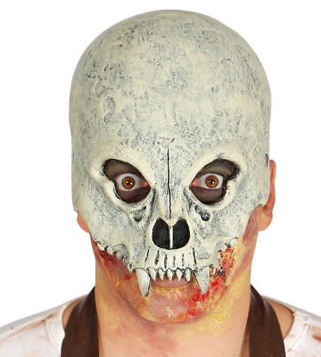 Half Vampire Skull Mask Halloween Fancy Dress Fangs Adults Latex Costume Dracula ()