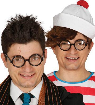 Harry Potter Zauberer Schwarz Brille mit Gläser Rund Kostüm Geek Wally (Nerd Kostüm Mit Brille)