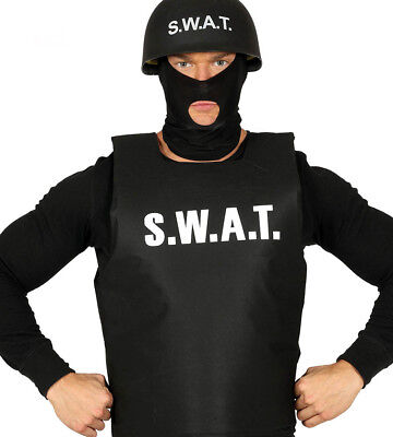 Mens Police SWAT Bulletproof Vest & SWAT Cap Hat Costume FBI Fancy Dress Outfit