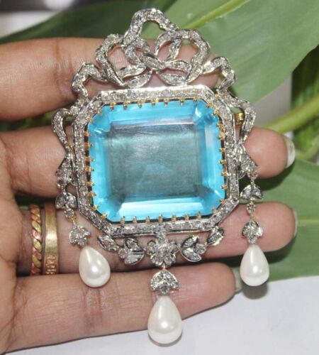 3.22cts ROSE CUT DIAMOND TOPAZ PEARL ANTIQUE VICTORIAN LOOK 925 SILVER BROOCH