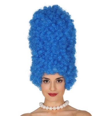 Blue Wig Cartoon Character Marge Simpson Fancy Dress Costume 90's Beehive Curly