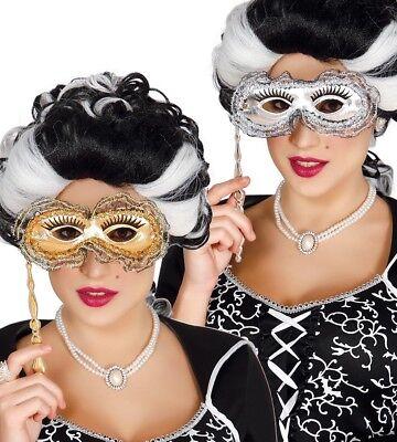 Gold & Spitze Silber Venezianische Maskerade Maske auf A Hand Stick Party Ball