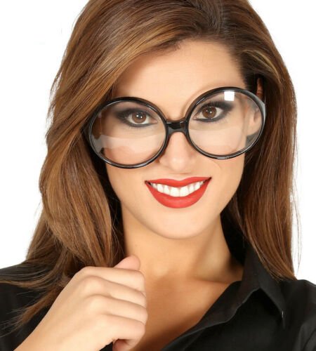 Fashion Office Sexy Large Secretary Clear Lens Black Glasses Retro Vintage UK