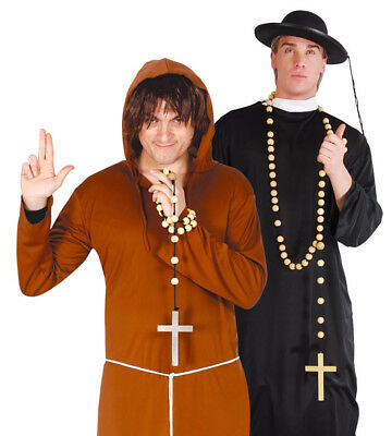 75cm Holz Rosenkranz Kreuz Halskette Kostüm Halloween Exorzist - Exorzist Kostüm Priester