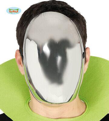 Erwachsene Alien oder Roboter Kostüm Gesichtsmaske Silber PVC - Roboter Kostüme Erwachsene
