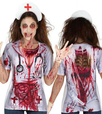 blutverschmiertes T-Shirt Halloween Damen Oberteil Ärztin Krankenschwester Gr. M