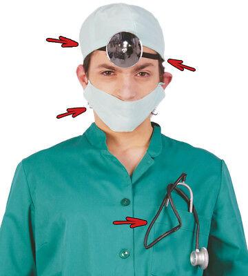 Fancy Dress Doctor Surgeon Set Mirror, Hat, Mask & Stethoscope Halloween Horror (Plastic Surgeon Halloween Costume)