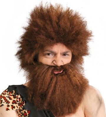 Höhlenmensch Perücke und Bart Wild Man Verrückt Braunes Haar