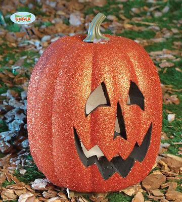 zucca di HALLOWEEN glitterata con luce decorazioni addobbi pumpkin 25 cm 19558