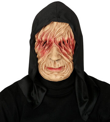 Mens Scary Zombie Mask Latex Hooded Halloween Fancy Dress Costume Masque NEW