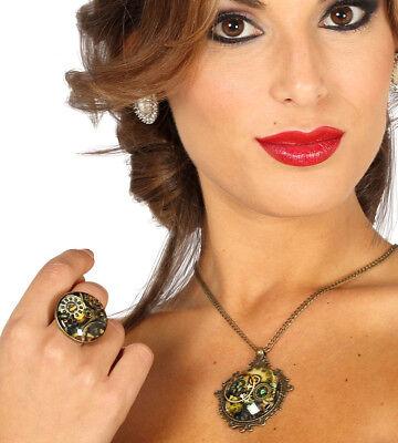 Steampunk Halskette & Ring Set Anhänger Gänge Zahnräder Kostüm Bronze Kette (Zahnräder Zahnrad Kostüme)
