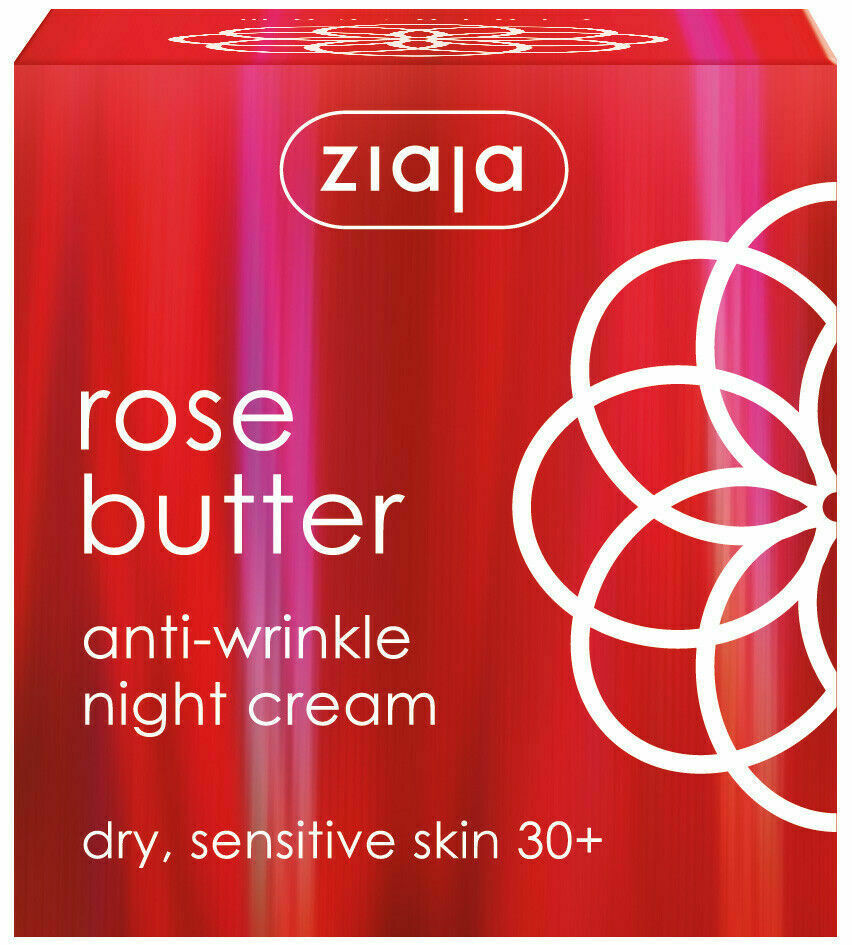 Ziaja Rose Butter Anti - Wrinkle Night Cream for Dry & Sensitive Skin 30+ 50ml