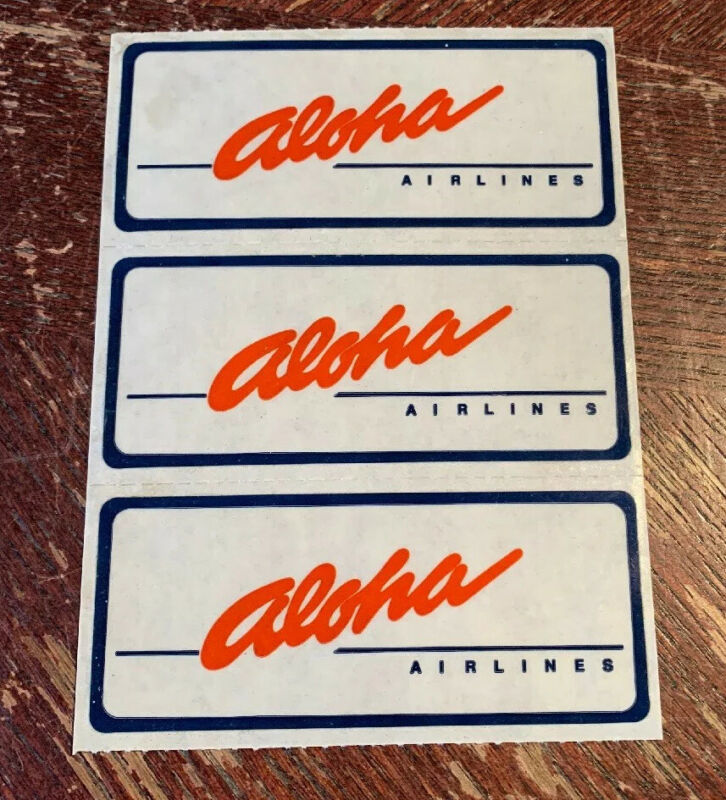 3 Vintage Aloha Airlines Stickers