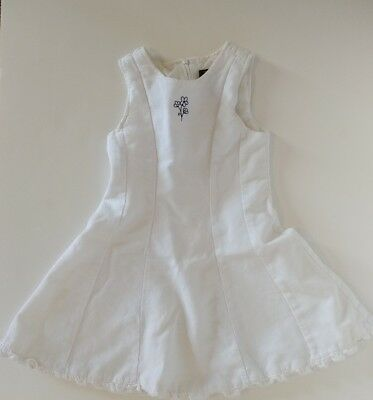 CHILDRENS PLACE 4/4T White Dress Lined Navy Blue Flower Easter/Flower Girl Dress](Navy Flower Girl Shoes)