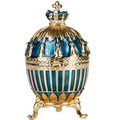 Faberge Replica Egg Blue Enamel Ribbed Egg Jewelry Box Gift Box 3.2