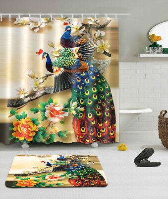 Fabric Bathroom Shower Curtain Waterproof Hooks BathMat BRANCH PEACOCK COUPLE  ()