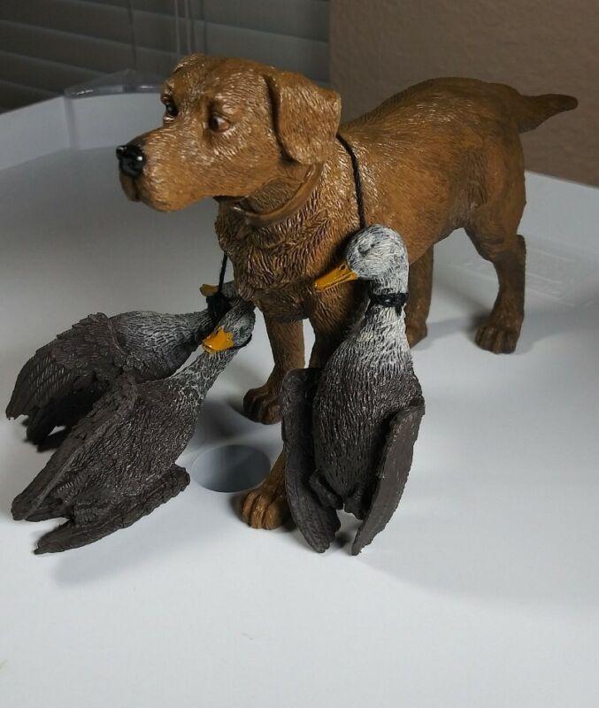Hunting Dog Figurine Toy with Ducks