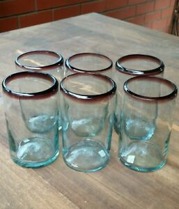 SET OF 6 HAND BLOWN MEXICAN RECYCLED GLASS  TUMBLER GLASSES   ITEM # 00019
