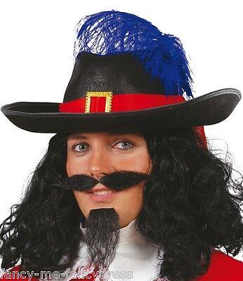 Herren Schwarze Feder Musketier Pirat Kapität Hut Kostüm Kleid Outfit