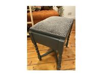 Painted upholstered storage stool