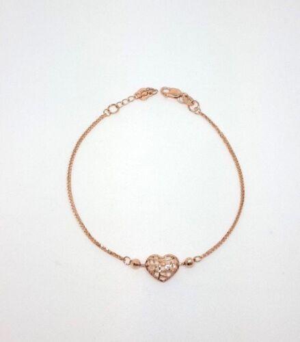 Miran 110401 Ladies 18K Rose Gold Diamond Cut Bracelet w/ Heart 17-19cm RRP $450
