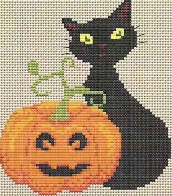 THE PUMPKIN SITTER--Halloween--Black Cat by Pumpkin-Counted Cross Stitch Pattern - The Halloween Cat