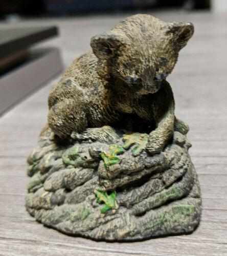 MINI MOUNTAIN LION CUB SCULPTURE, BRONZE MENAGERIE Animal Figurine Hamilton