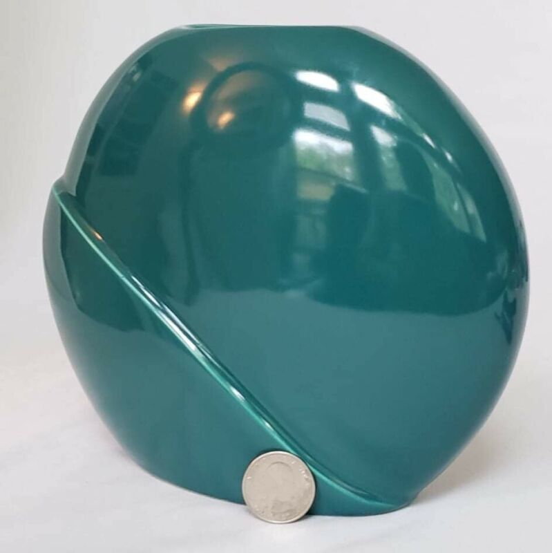 "Vintage 1980s Home Decor Teal Folded Medium Sized Circle Vase 6.5 X 9"""