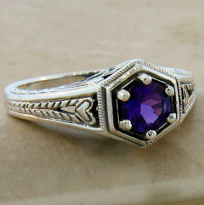 - GENUINE DARK PURPLE AMETHYST ANTIQUE STYLE .925 STERLING SILVER RING,       #508