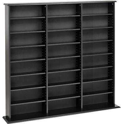Home DVD Storage Media Cabinet CD VHS Blu-Ray Multimedia Wall Unit Tower Shelf
